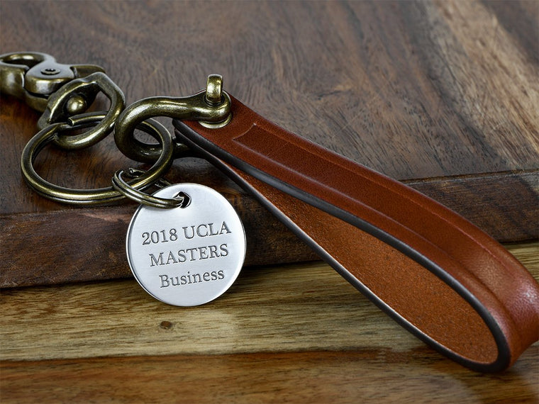 Graduation Leather Keychain with Engraved Charm