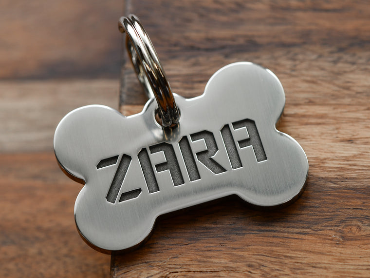 Short Name - Bone Dog ID Tag, Stainless Steel