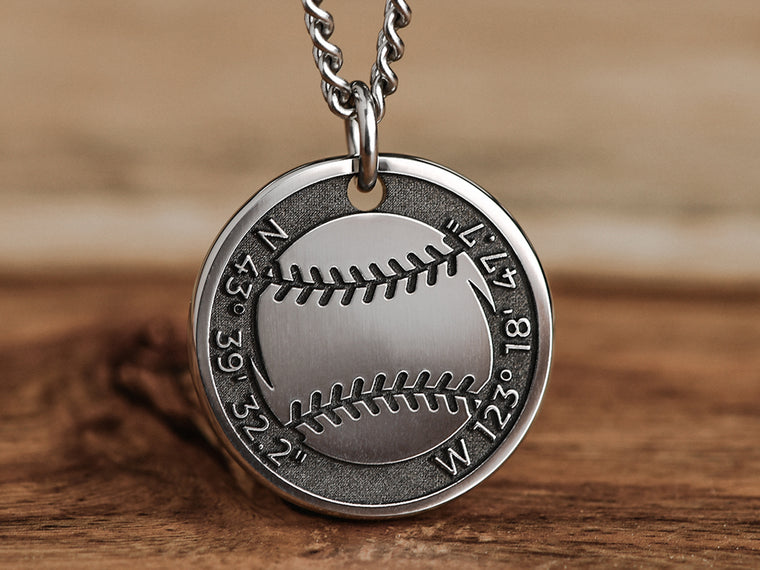 Mens Baseball Necklace with Custom Coordinates
