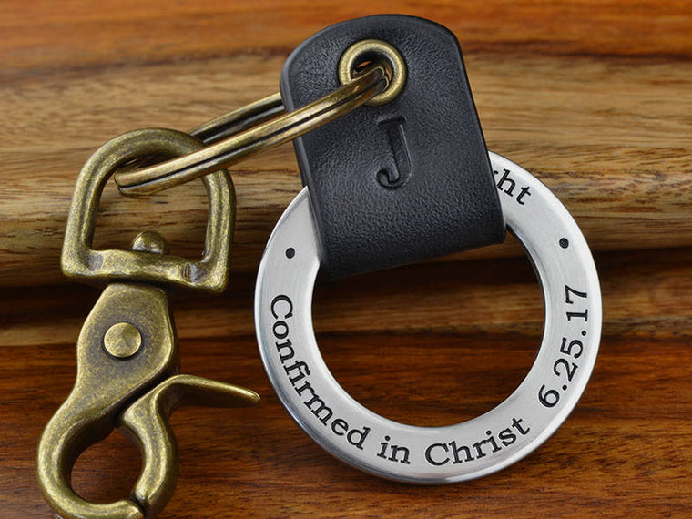 Personalized Confirmation Leather Keychain Ring