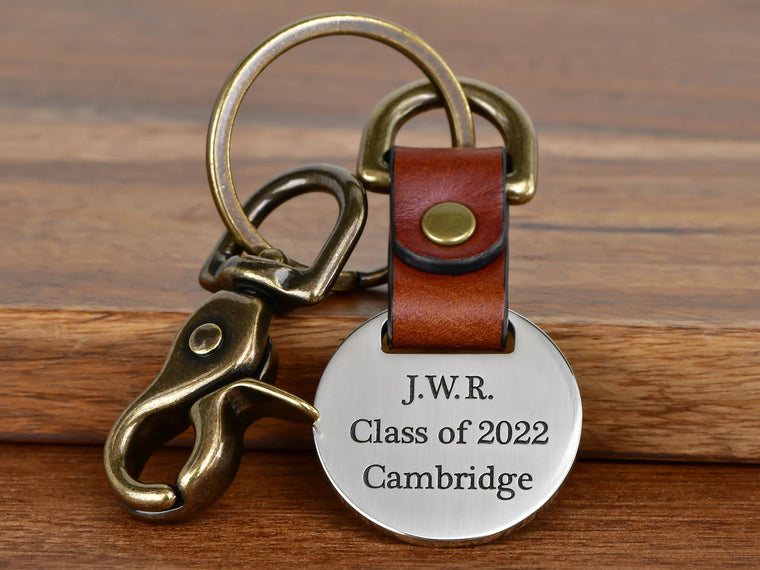 Custom Engraved Fold Over Leather Keychain