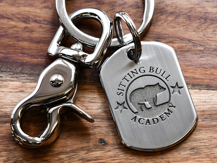 Custom Deep Engraved Logo Keychain Rectangle