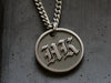 Unique raised engraved initial necklace pendant for men