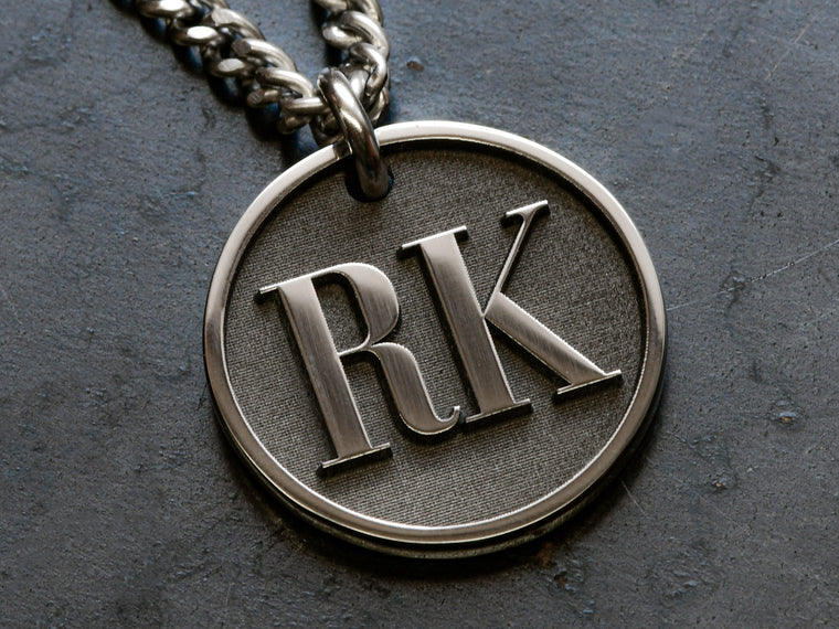 Mens custom Raised Initial necklace is engraved with your own initials or two letters