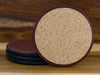 High quality handcrafted leather coasters with cork backing