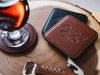 High end logo promotional gifts on embossed leather coasters