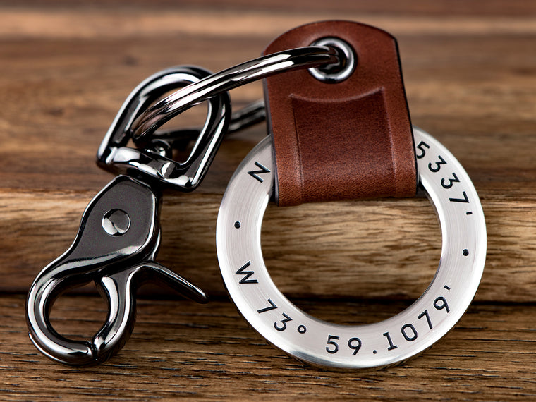 Custom Embossed Leather Keychain Ring