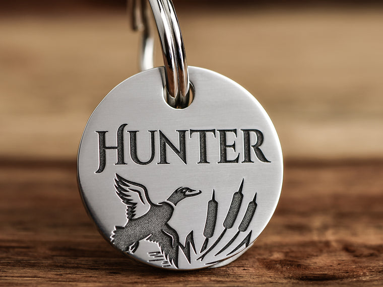 Hunting Bird Dog ID Tag deep engraved stainless steel with bird silhouette and cattails