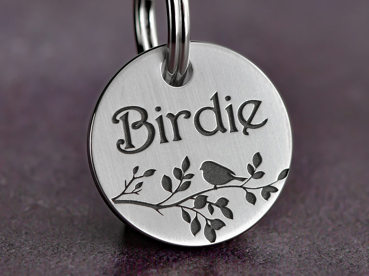 Bird on a Branch Dog ID Tag, Stainless Steel