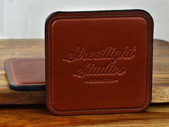 Logo embossed leather coaster set for classy business gift
