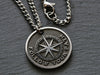 Mens Personalized Compass Rose Necklace pendant with raised engraving