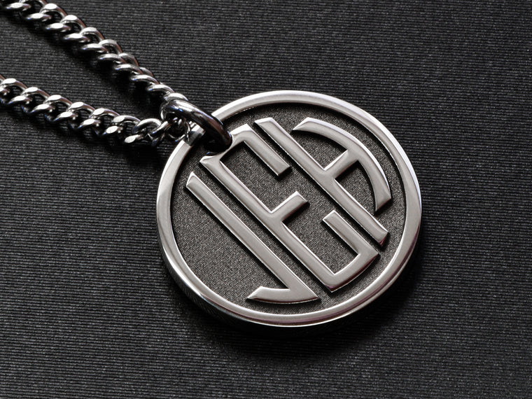 Mens custom monogram necklace with raised engraving made from Stainless Steel