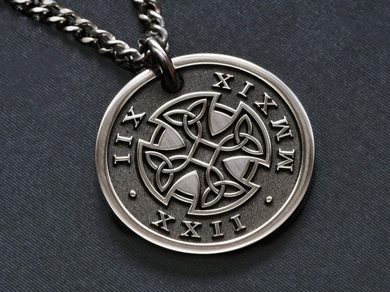Mens Raised Engraved Necklace Pendant with Roman Numerals and Celtic Cross