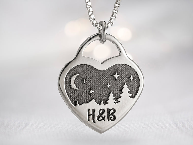 Womens Mountain Heart Initial Necklace