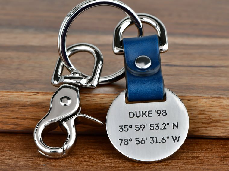 Custom Coordinates Leather Foldover Keychain