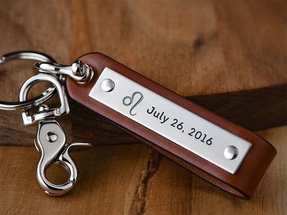 Personalized Leather Shackle Keychain
