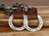 Personalized Couples Leather Key Chain Ring Set