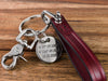 Personalized Burgundy Leather Keychain with Engraved Charm