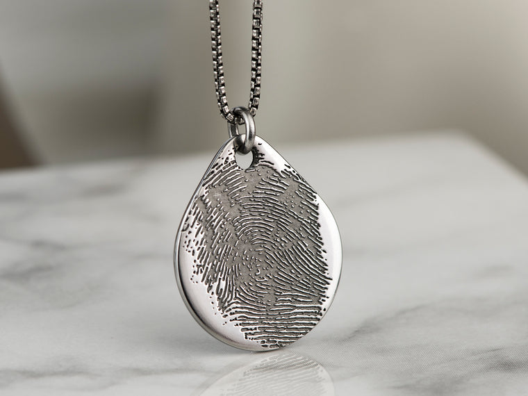 Real Fingerprint Teardrop Necklace