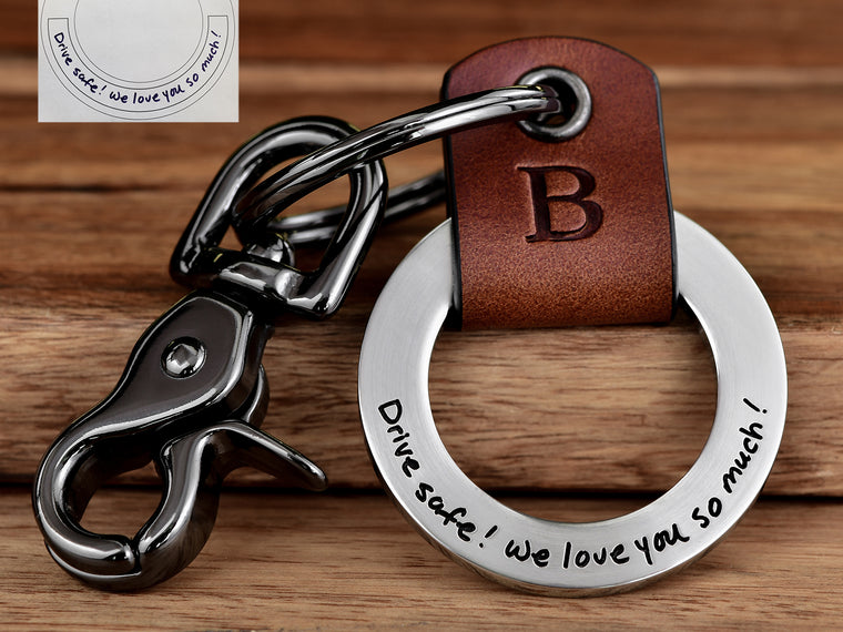 Engrave Your Actual Handwriting Leather Keychain Gift