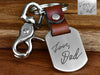 Real Engraved Handwriting Leather Keychain Mens
