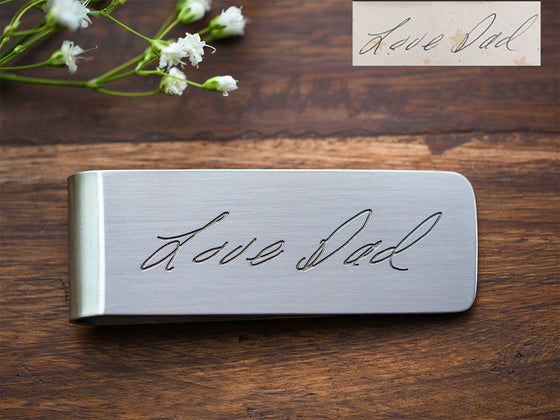 Real handwriting stainless steel money clip