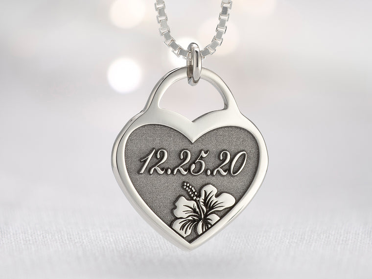 Womens Custom Engraved Tropical Flower Necklace