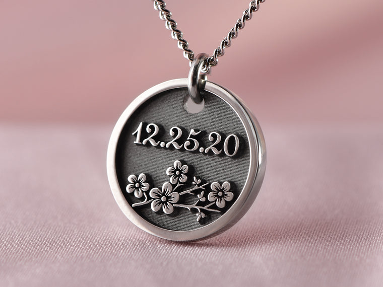 Womens Engraved Flower Blossom Necklace