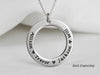 Raised Engraving Coordinates Ring Necklace