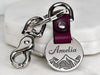 Womens Custom Engraved Mountain Leather Keychain