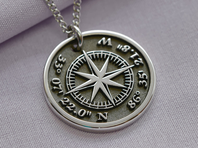 Custom Coordinates Compass Rose Engraved Necklace
