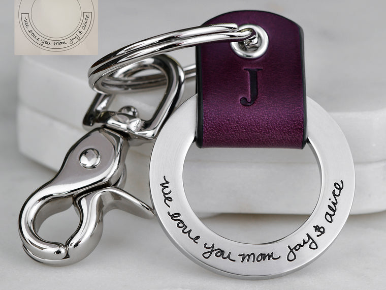 Your Real Handwriting Leather Keychain Ring
