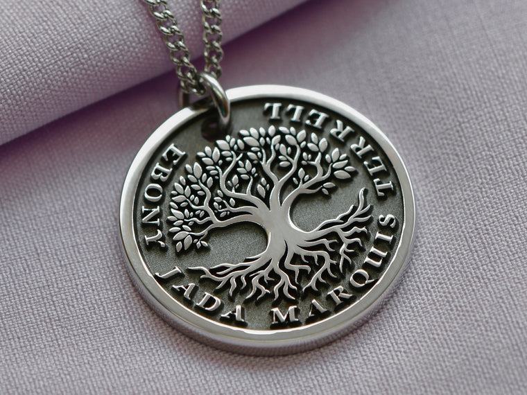 Womens Custom Engraved Tree of Life Necklace with raised 3D tree and text