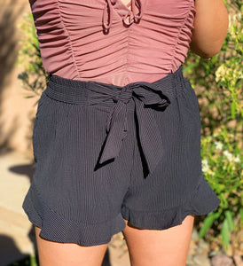 Black Skylar Striped Shorts