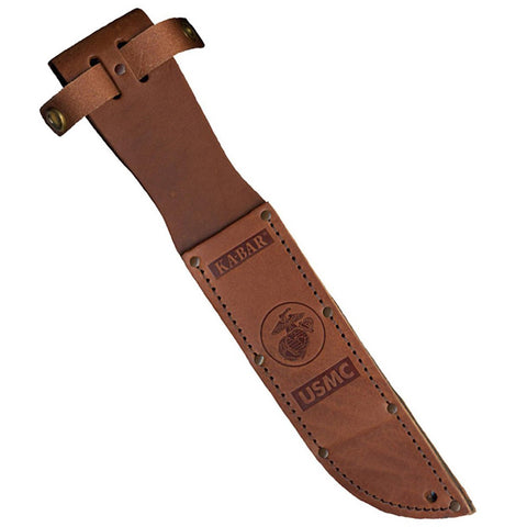 "Leather Sheath - USMC Logo, Fits Knife with 7"" Blade, Brown"