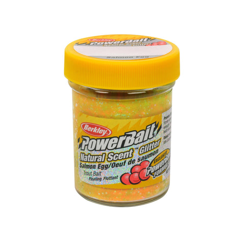 PowerBait Natural Glitter Trout Dough Bait - Salmon Egg Scent-Flavor, Rainbow