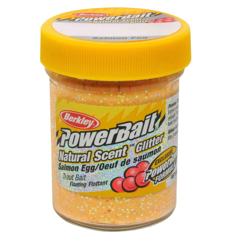 PowerBait Natural Glitter Trout Dough Bait - Salmon Egg Scent-Flavor, Salmon Peach