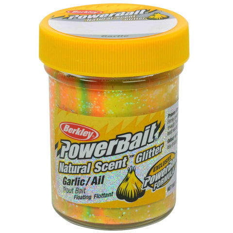 PowerBait Natural Glitter Trout Dough Bait - Garlic Scent-Flavor, Rainbow