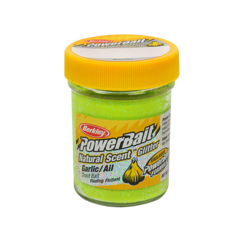 PowerBait Natural Glitter Trout Dough Bait - Garlic Scent-Flavor, Yellow