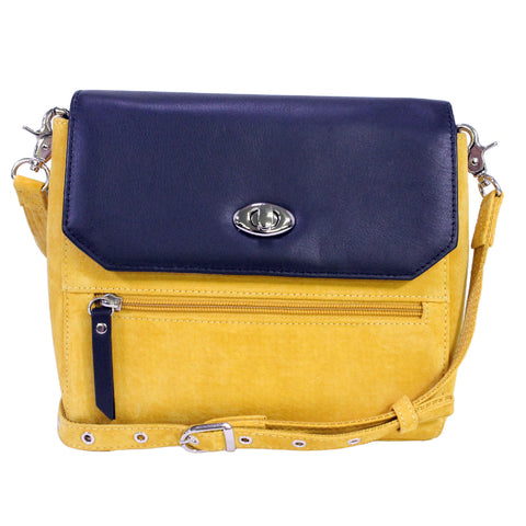 Suede Clutch with Cowhide Flap - Yellow