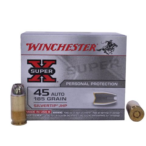 45 Automatic - Super-X, 185 Grains, Silvertip Hollow Point, Per 20