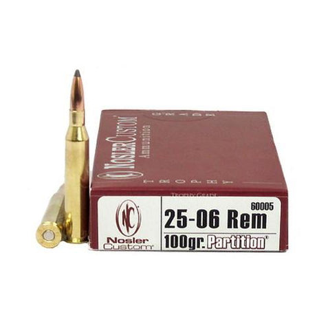 25-06 Remington Trophy Grade Ammunition, 100 Grains, Partition, Per 20