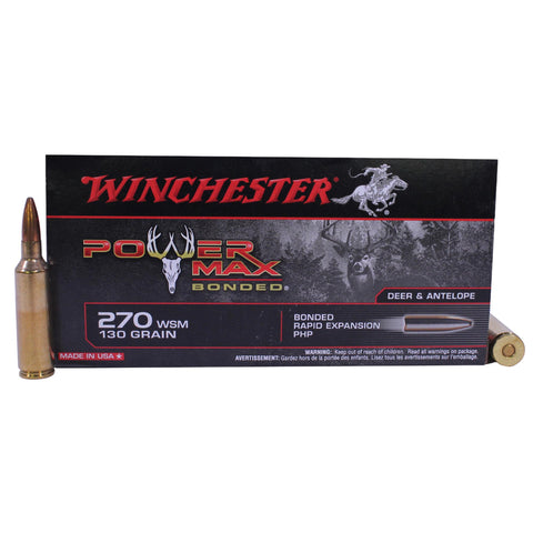 270 Winchester Short Magnum - Power Max Bonded, 130 Grains, Protected Hollow Point, Per 20