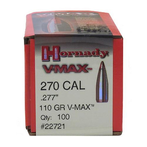 ".270 Caliber (0.277"" Diameter) Bullets - V-Max, 110 Grains, Polymer Top Boat Tail (BT) with Cannelure, Per 100"