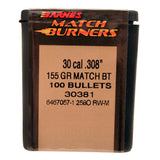 30 Caliber Bullets - Match Burner, 155 Grains, Boat Tail Palma (BTP), Per 100