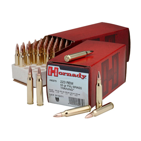 .223 Remington - Custom Ammunition, 55 Grains, Full Metal Jacket Boat Tail (FMJ-BT), Per 50