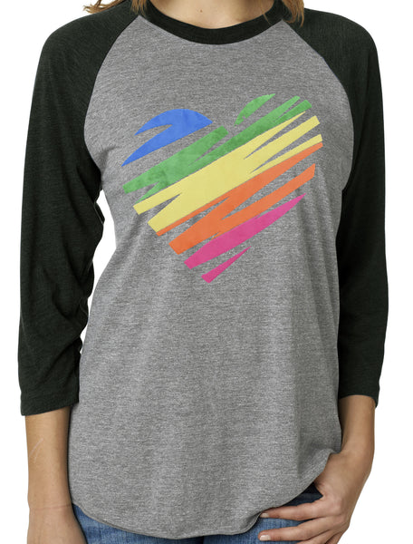 Textured Colorful Heart 3/4 Sleeve Black Tri Blend Raglan
