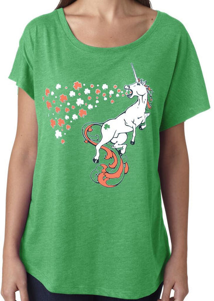 St. Patricks Day Unicorn Green Dolman Tshirt