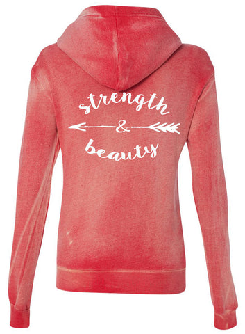 Strength & Beauty Red Hooded Fleece Sweatshirt