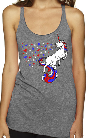 USA Unicorn Grey Tri Blend Tank Top